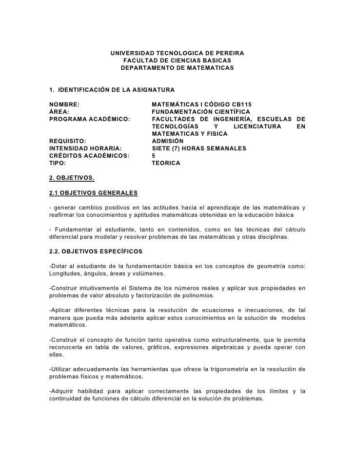 UNIVERSIDAD TECNOLOGICA DE PEREIRA                         FACULTAD DE CIENCIAS BASICAS                        DEPARTAMENT...