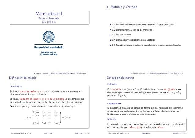 1. Matrices y Vectores  Matem´ticas I a Grado en Econom´ ıa Curso 2010-2011  1.1 Definici´n y operaciones con matrices. Tip...