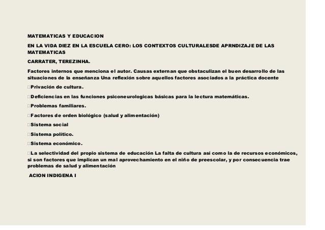 MATEMATICAS Y EDUCACIONEN LA VIDA DIEZ EN LA ESCUELA CERO: LOS CONTEXTOS CULTURALESDE APRNDIZAJE DE LASMATEMATICASCARRATER...