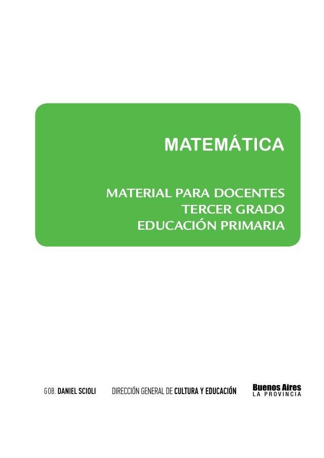 MATEMÁTICAMATERIAL PARA docentes          tercer grado   educación PRIMARIa