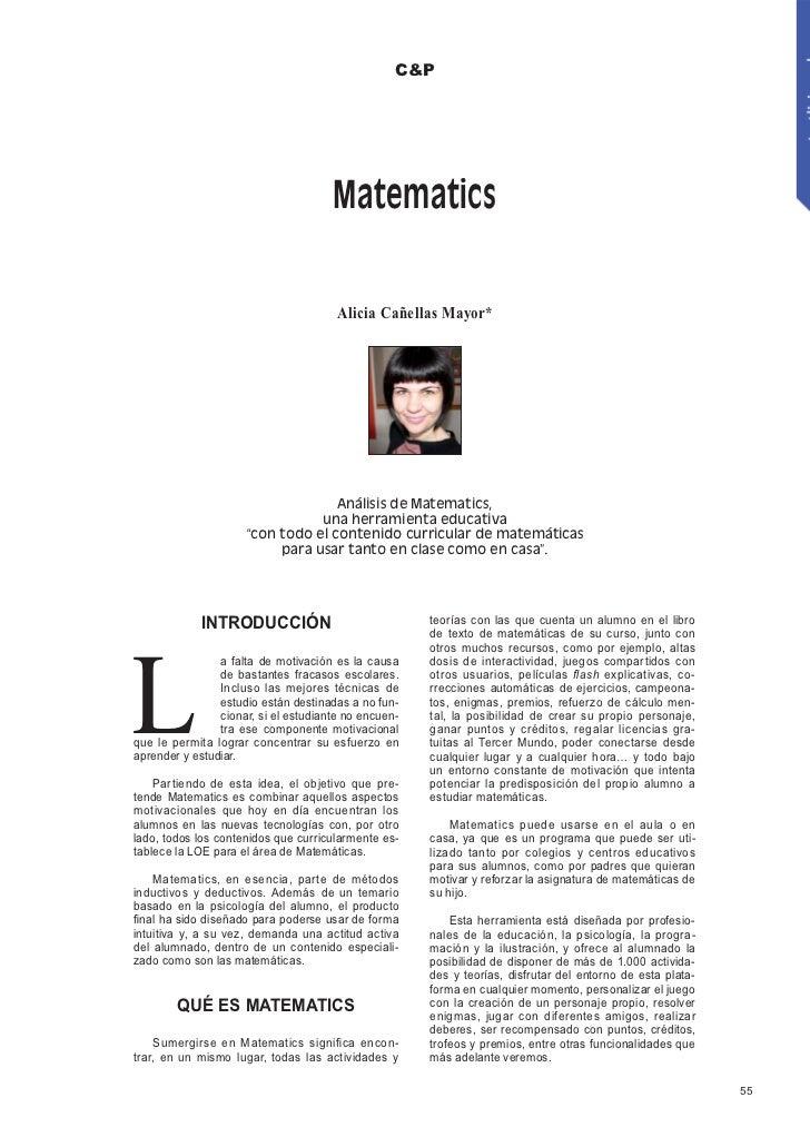 C&P                                      Matematics                                       Alicia Cañellas Mayor*          ...