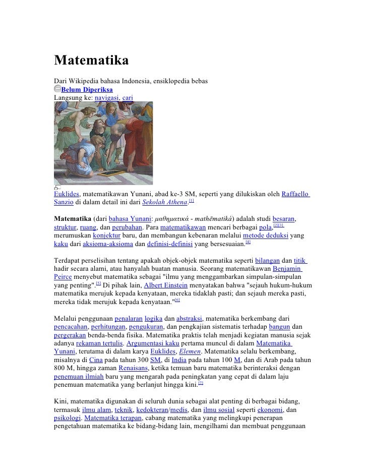 MatematikaDari Wikipedia bahasa Indonesia, ensiklopedia bebas  Belum DiperiksaLangsung ke: navigasi, cariEuklides, matemat...