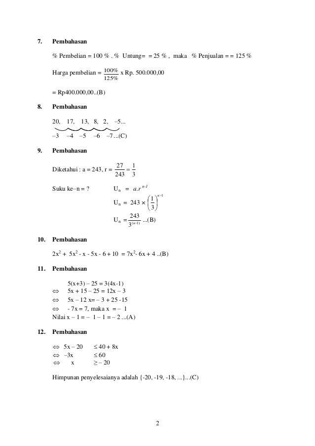 Soal Pengayaan Matematika Un 2016