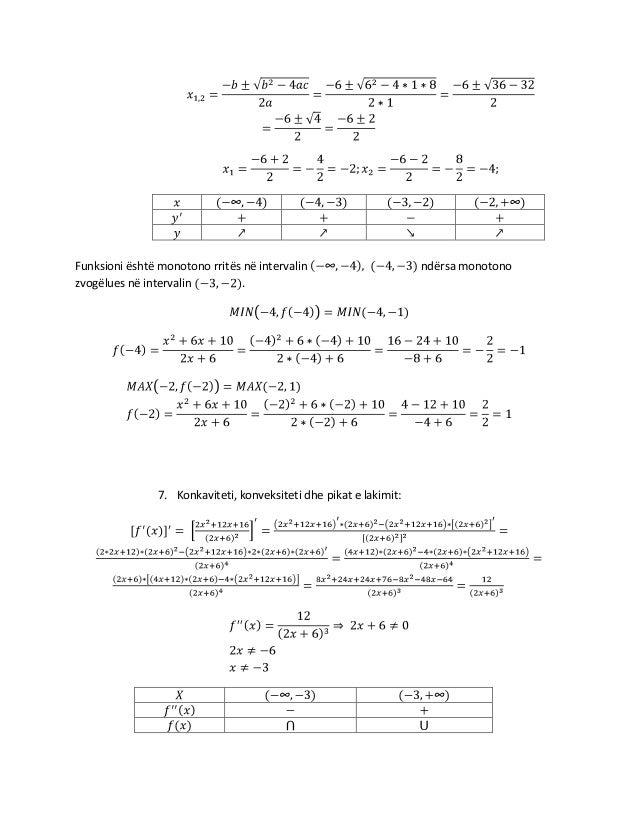 Funksioni është monotono rritës në intervalin zvogëlues në intervalin .  7. Konkaviteti, konveksiteti dhe pikat e lakimit:...