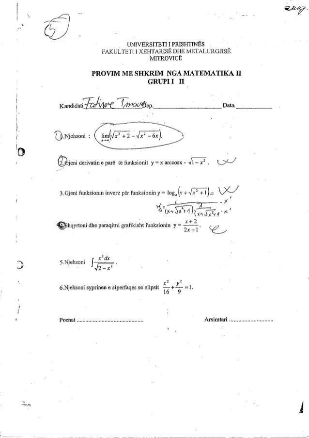 Matematika 2  provime me shkrim zgjedhje e detyrave
