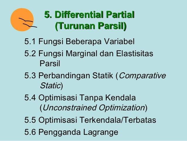 5. Differential Partial        (Turunan Parsil)5.1 Fungsi Beberapa Variabel5.2 Fungsi Marginal dan Elastisitas    Parsil5....