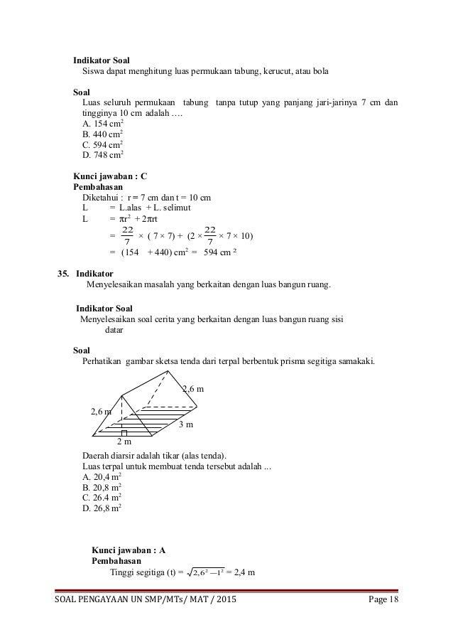 Try Out Un Matematika Smp Paket 1 2015