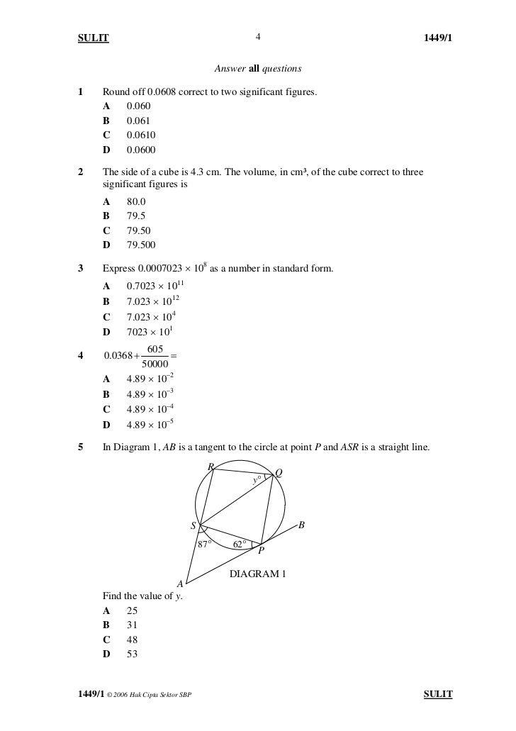Soalan Matematik Form 5 Kertas 2 Pewarna P