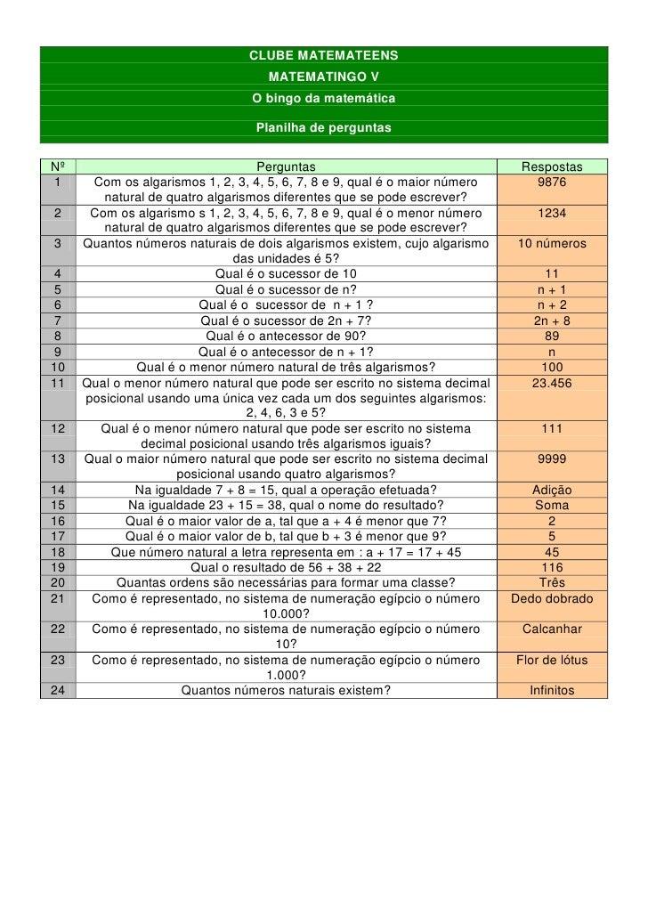 CLUBE MATEMATEENS                                     MATEMATINGO V                                  O bingo da matemática...