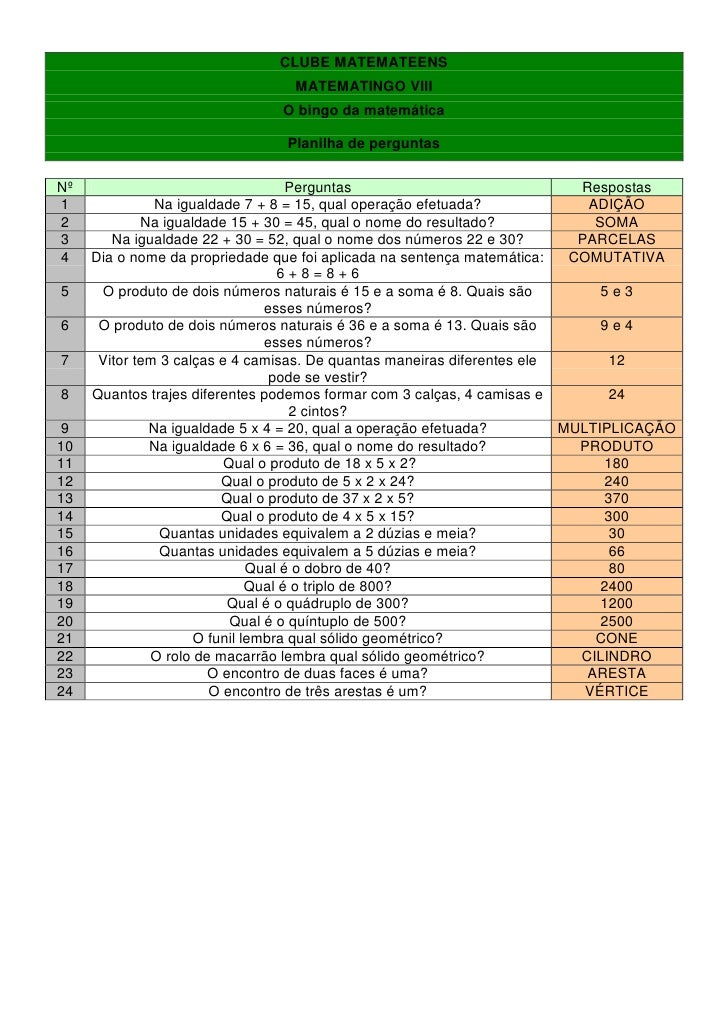 CLUBE MATEMATEENS                                  MATEMATINGO VIII                                O bingo da matemática  ...