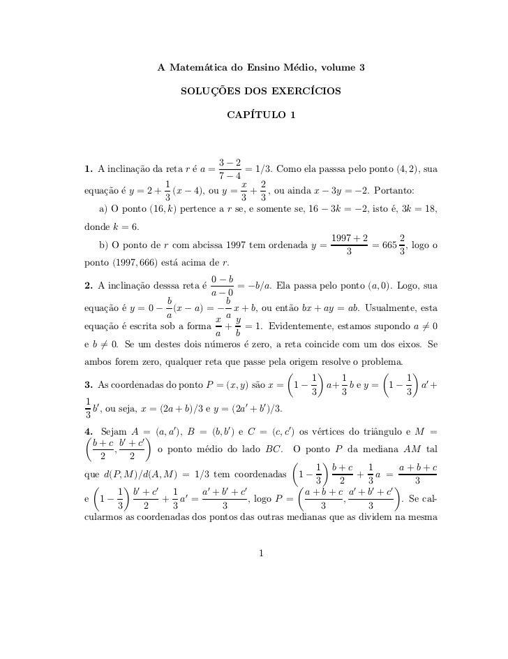 A Matem´tica do Ensino M´dio, volume 3                        a                e                       SOLUCOES DOS EXERC´...