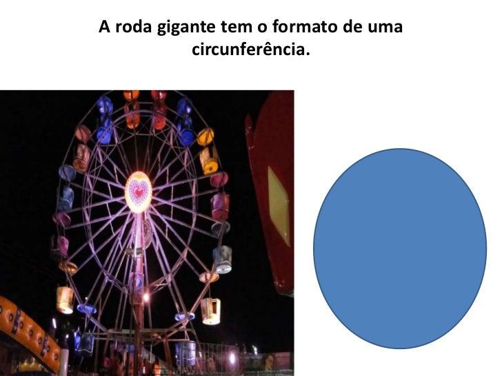 A roda gigante tem o formato de uma circunferência.<br />