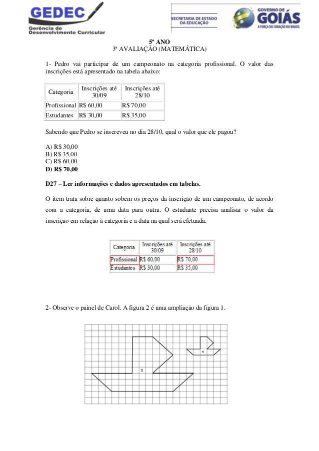 5º ANO 3ª AVALIAÇÃO (MATEMÁTICA) 1- Pedro vai participar de um campeonato na categoria profissional. O valor das inscriçõe...