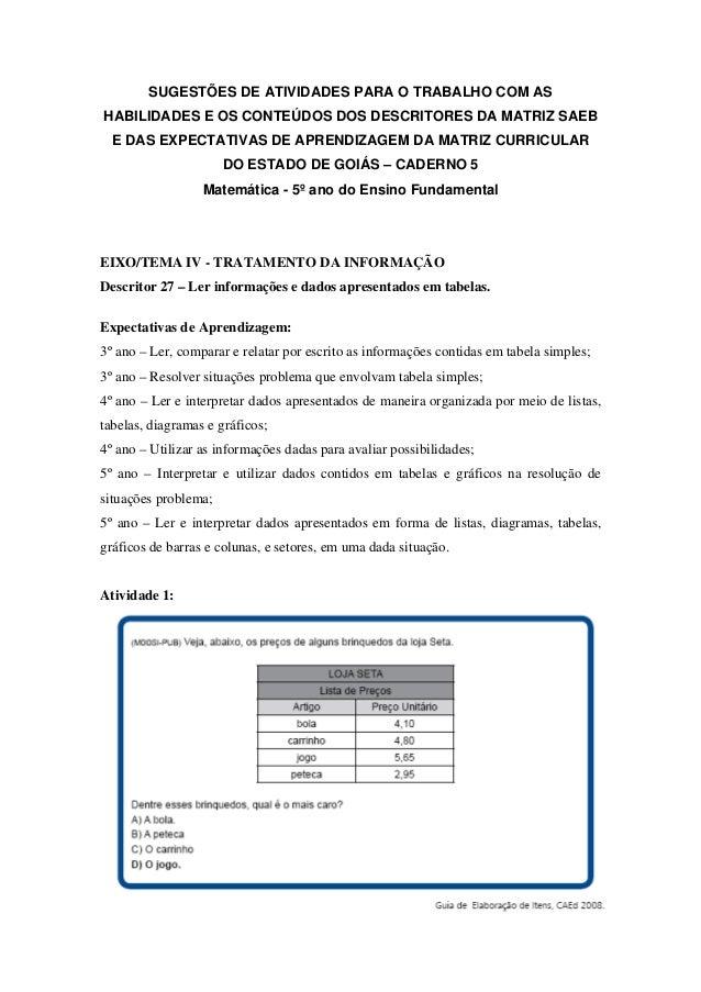 SUGESTÕES DE ATIVIDADES PARA O TRABALHO COM AS HABILIDADES E OS CONTEÚDOS DOS DESCRITORES DA MATRIZ SAEB E DAS EXPECTATIVA...