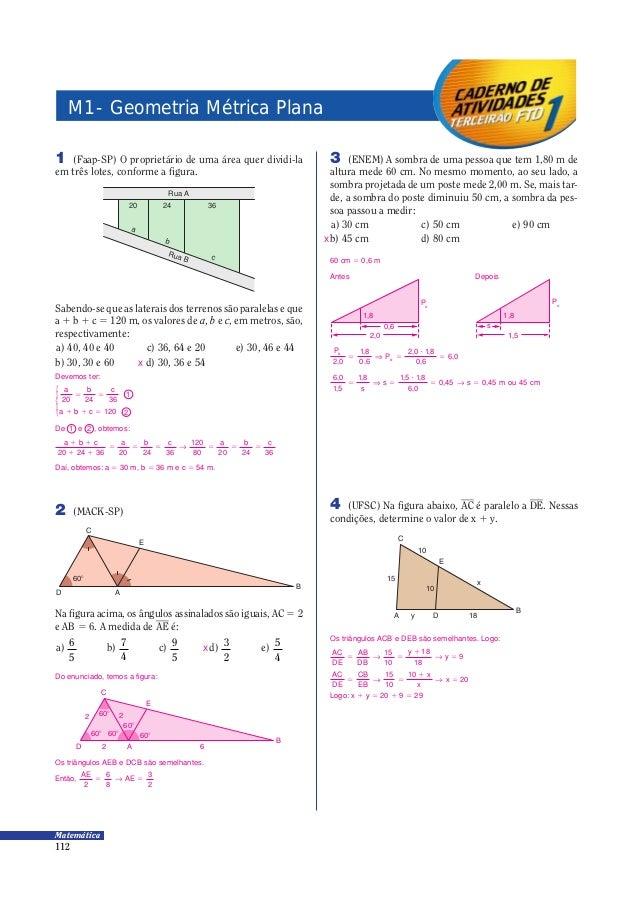 112 Matemática 1 (Faap-SP) O proprietário de uma área quer dividi-la em três lotes, conforme a figura. Rua A 20 24 36 a b ...