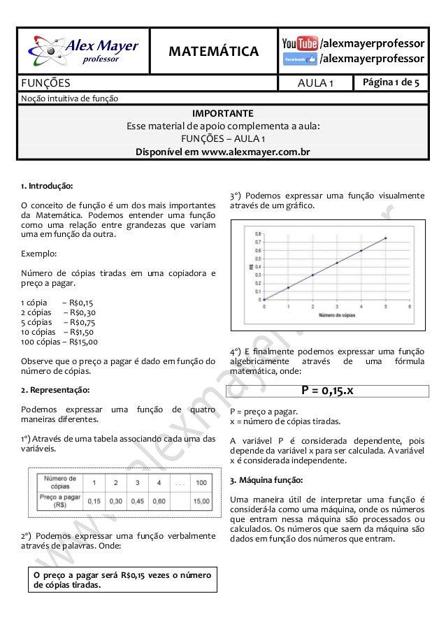 .  .  MATEMÁTICA FUNÇÕES  AULA 1  Página 1 de 5  Noção intuitiva de função  IMPORTANTE Esse material de apoio complementa ...