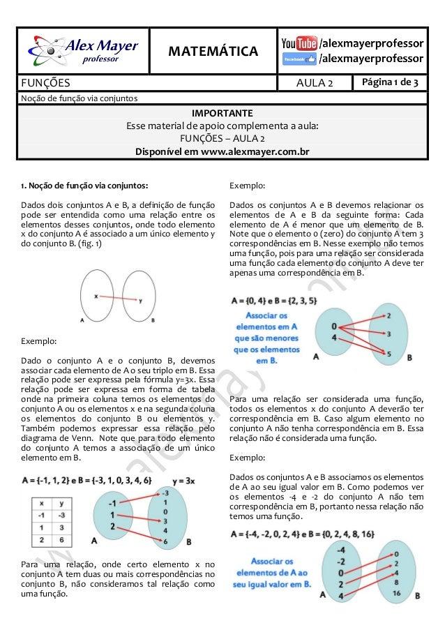 . MATEMÁTICA . FUNÇÕES AULA 2 Página 1 de 3 Noção de função via conjuntos IMPORTANTE Esse material de apoio complementa a ...