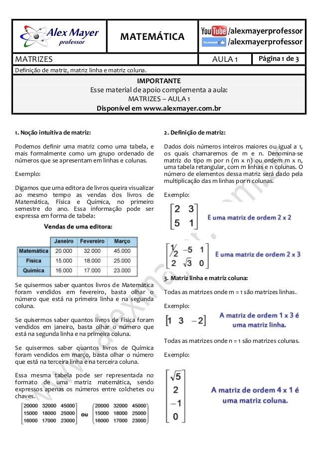 . MATEMÁTICA . MATRIZES AULA 1 Página 1 de 3 Definição de matriz, matriz linha e matriz coluna. IMPORTANTE Esse material d...