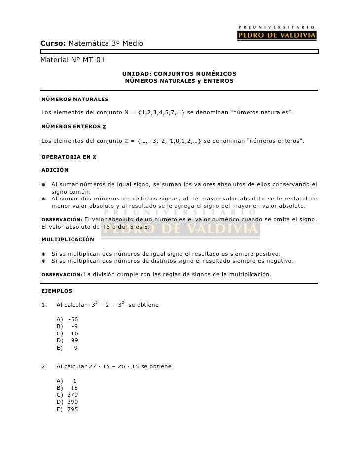 PDV: Matemáticas Guía N°1 [3° Medio] (2012)