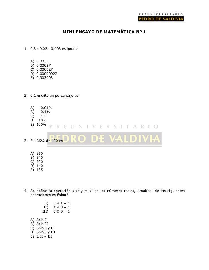 PDV: Matemática Mini-ensayo N°4 (2012)