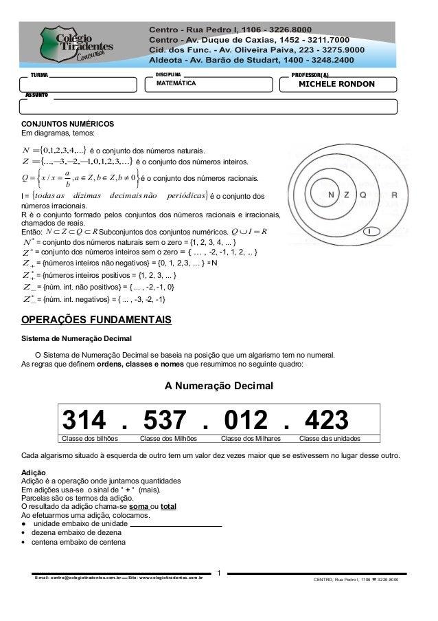 CENTRO, Rua Pedro I, 1106  3226.8000E-mail: centro@colegiotiradentes.com.br  Site: www.colegiotiradentes.com.br TURMA DI...