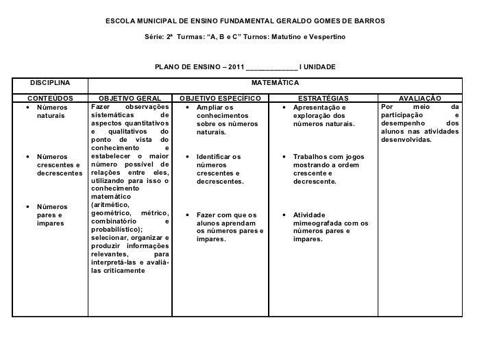 """ESCOLA MUNICIPAL DE ENSINO FUNDAMENTAL GERALDO GOMES DE BARROS                                    Série: 2ª Turmas: """"A, B ..."""