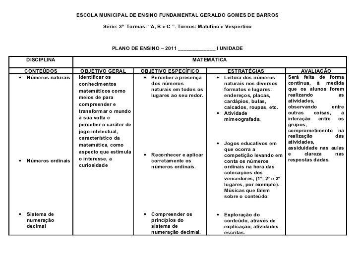 """ESCOLA MUNICIPAL DE ENSINO FUNDAMENTAL GERALDO GOMES DE BARROS                                Série: 3ª Turmas: """"A, B e C ..."""