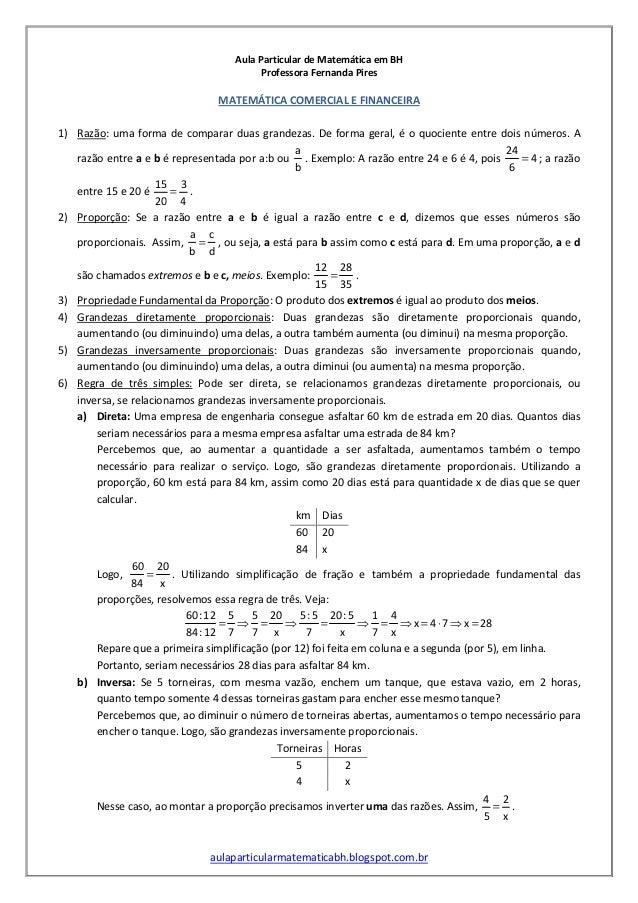 Aula Particular de Matemática em BH Professora Fernanda Pires aulaparticularmatematicabh.blogspot.com.br MATEMÁTICA COMERC...