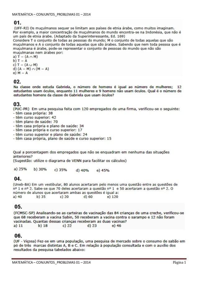 Matematica Conjuntos Problemas 01 2014
