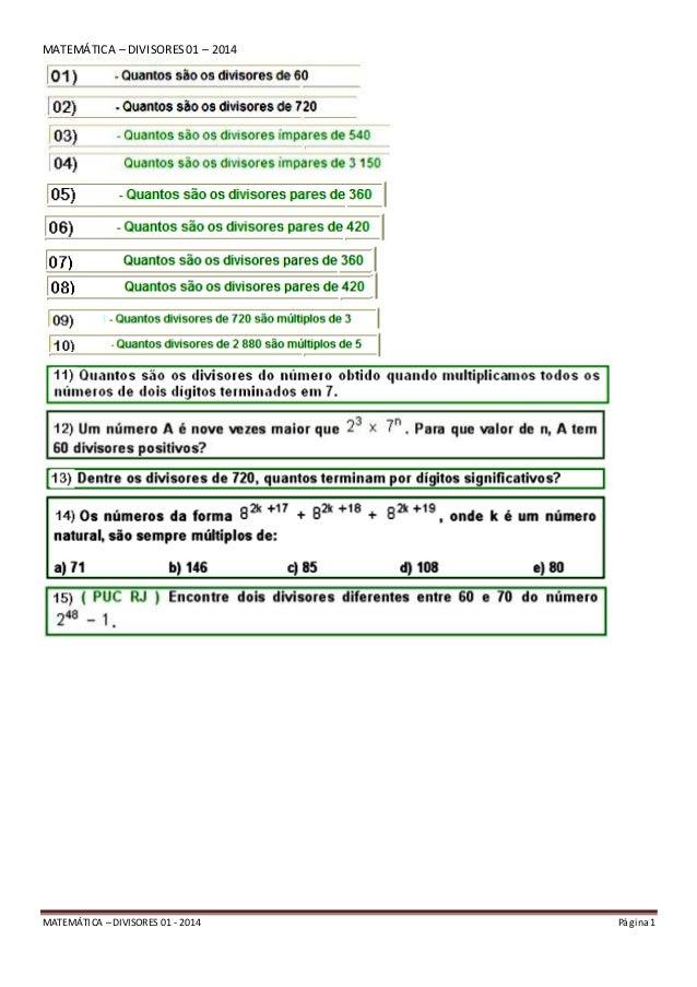 MATEMÁTICA – DIVISORES 01 - 2014 Página 1 MATEMÁTICA – DIVISORES01 – 2014