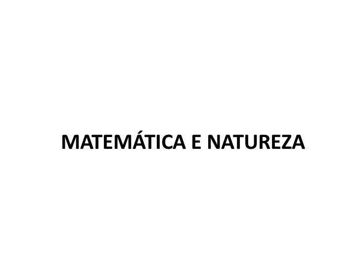 MATEMÁTICA E NATUREZA