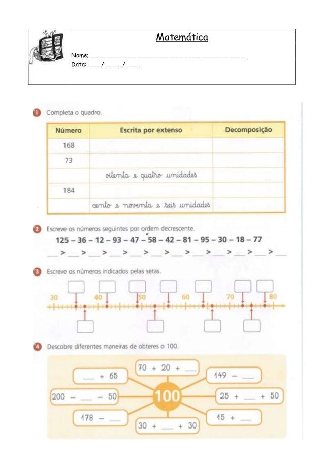 Matemática Nome;__________________________________________ Data: ___ / ____ / ___