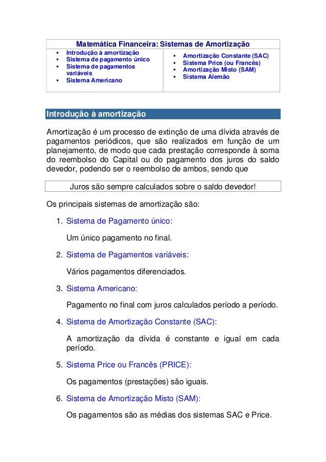 Matemática Financeira: Sistemas de Amortização     Introdução à amortização                                        Amort...