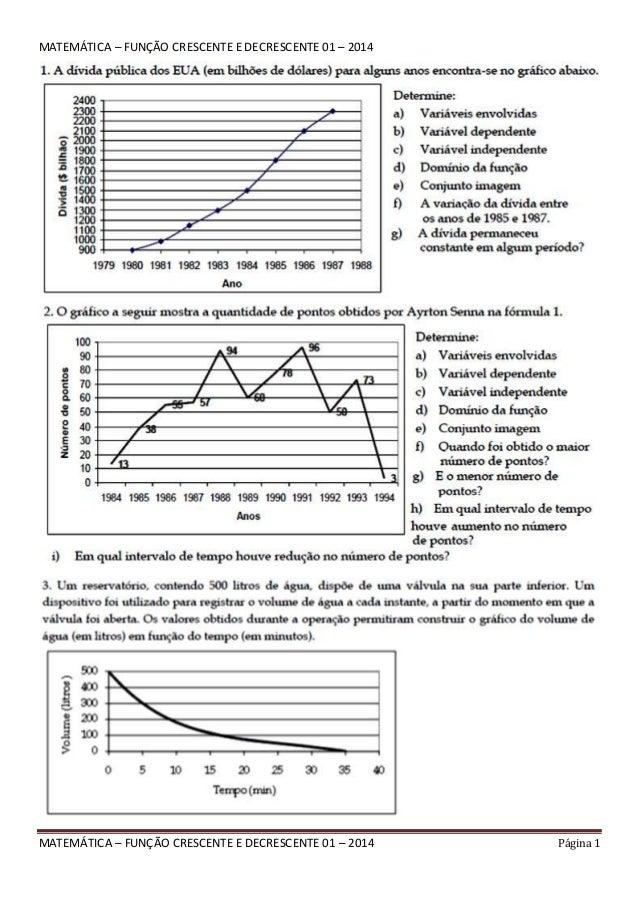 MATEMÁTICA – FUNÇÃO CRESCENTE E DECRESCENTE 01 – 2014 Página 1 MATEMÁTICA – FUNÇÃO CRESCENTE E DECRESCENTE 01 – 2014