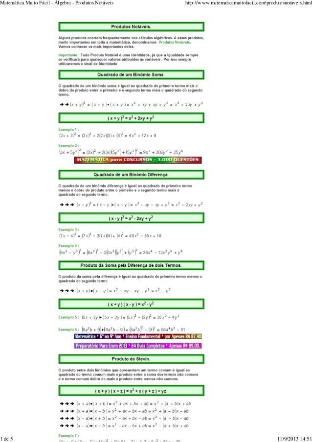 Matemática Muito Fácil - Álgebra - Produtos Notáveis  1 de 5  http://www.matematicamuitofacil.com/produtosnotaveis.html  1...
