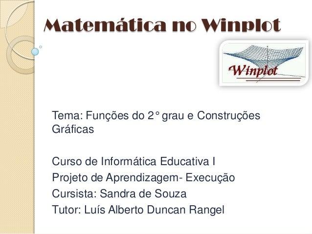 Matemática no WinplotTema: Funções do 2° grau e ConstruçõesGráficasCurso de Informática Educativa IProjeto de Aprendizagem...