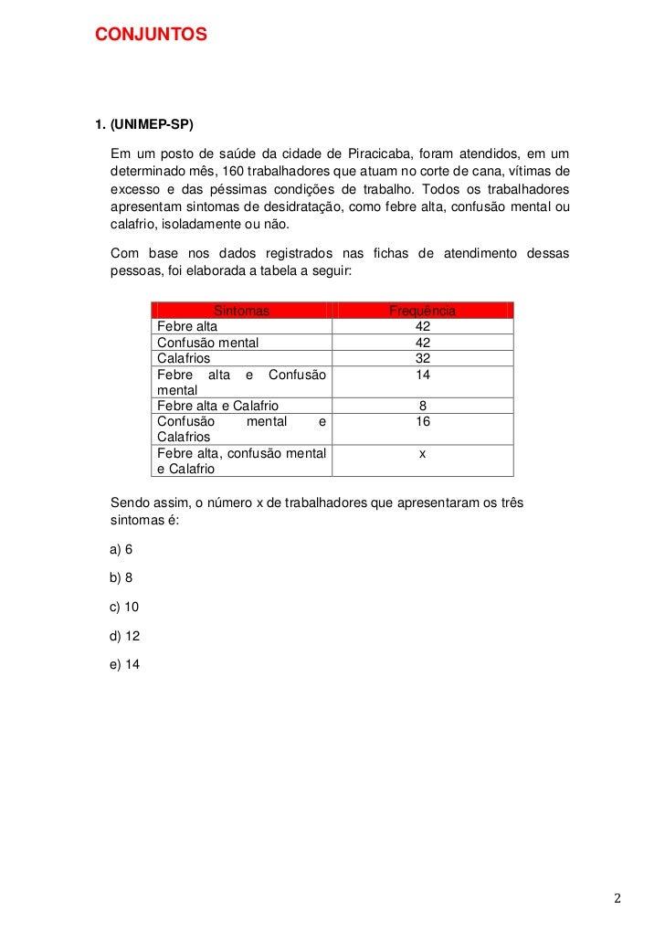 CONJUNTOS1. (UNIMEP-SP)  Em um posto de saúde da cidade de Piracicaba, foram atendidos, em um  determinado mês, 160 trabal...