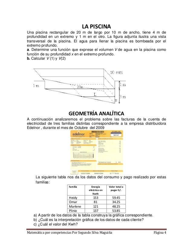 Matem tica por competencias for Calcular volumen piscina