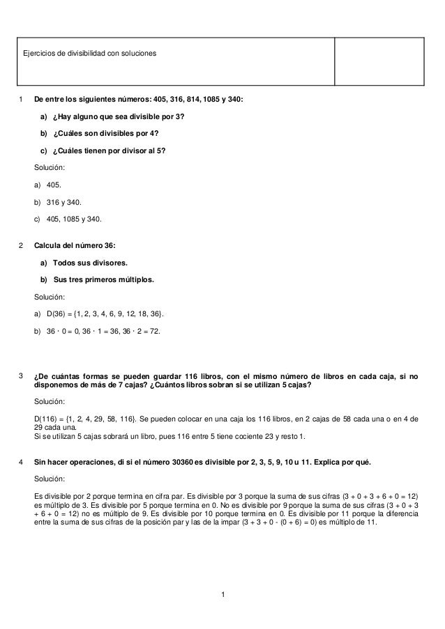 Matemáticas 1º eso ejercicios de divisibilidad con soluciones