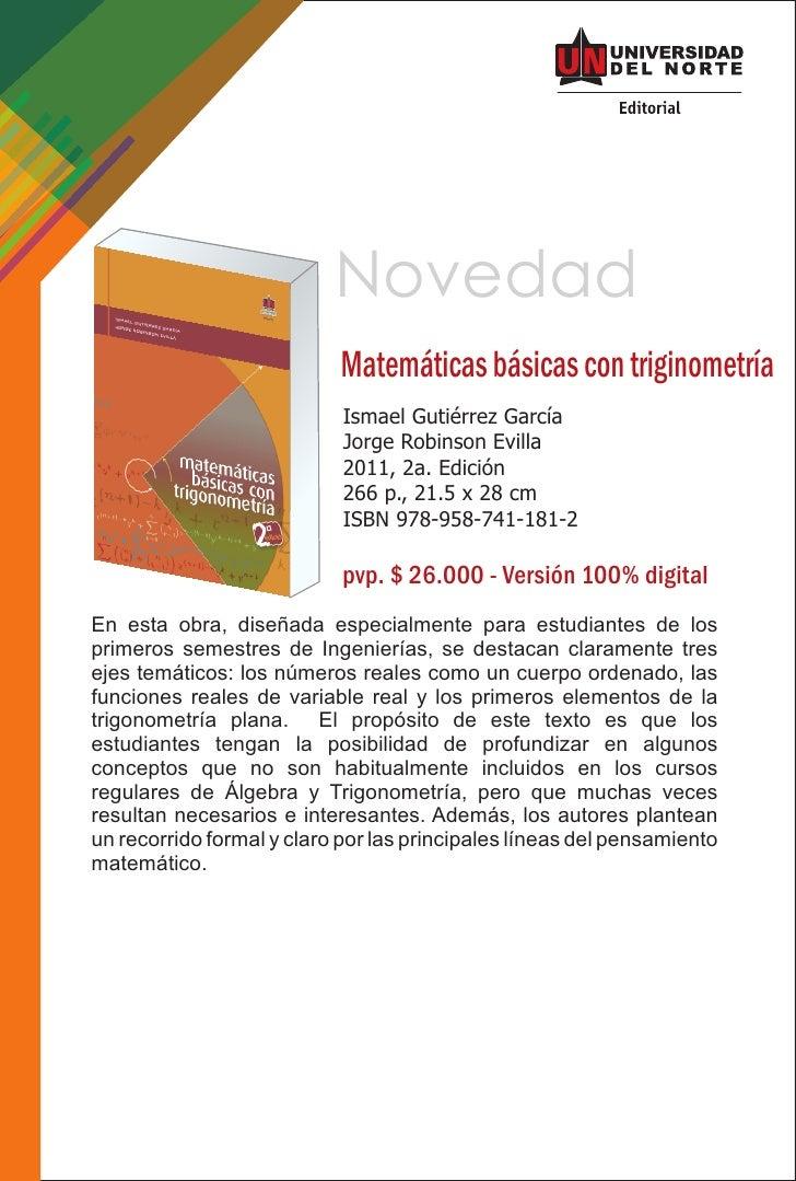 Novedad                           Matemáticas básicas con triginometría                            Ismael Gutiérrez García...