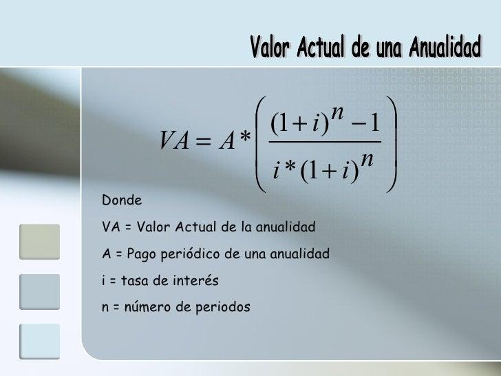 Valor Actual de una Anualidad Donde VA = Valor Actual de la anualidad A = Pago periódico de una anualidad i = tasa de inte...