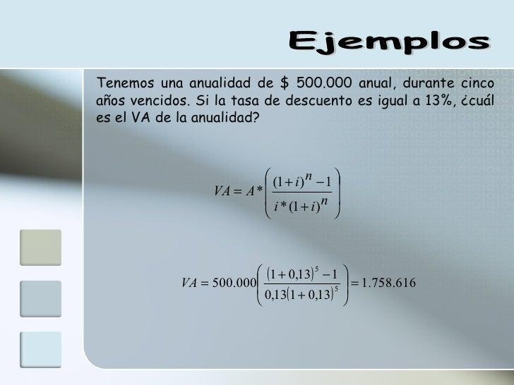 Ejemplos Tenemos una anualidad de $ 500.000 anual, durante cinco años vencidos. Si la tasa de descuento es igual a 13%, ¿c...
