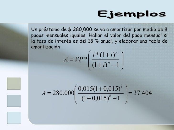 Ejemplos Un préstamo de $ 280,000 se va a amortizar por medio de 8 pagos mensuales iguales. Hallar el valor del pago mensu...