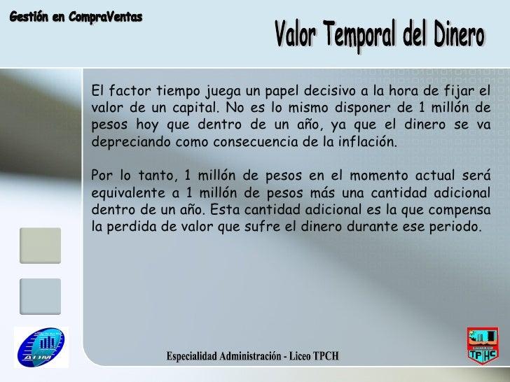 Especialidad Administración - Liceo TPCH Valor Temporal del Dinero Gestión en CompraVentas El factor tiempo juega un papel...