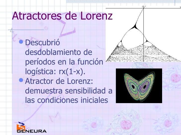 Atractores de Lorenz <ul><li>Descubrió desdoblamiento de períodos en la función logística: rx(1-x). </li></ul><ul><li>Atra...