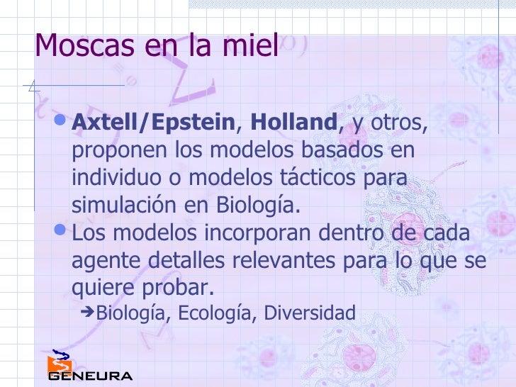 Moscas en la miel <ul><li>Axtell/Epstein ,  Holland , y otros, proponen los modelos basados en individuo o modelos táctico...
