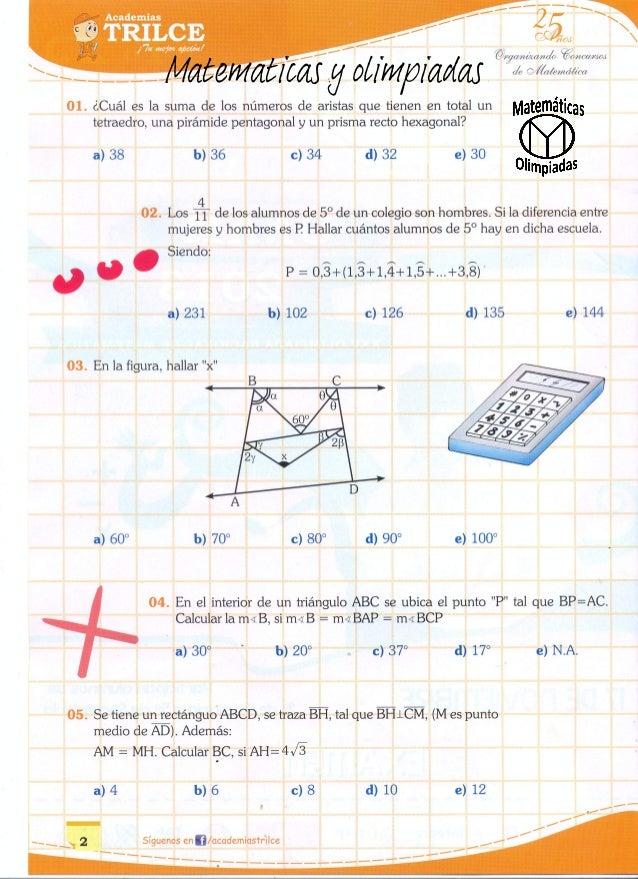 Matemáticas y olimpiadas 5to de primaria onam trilce 2013