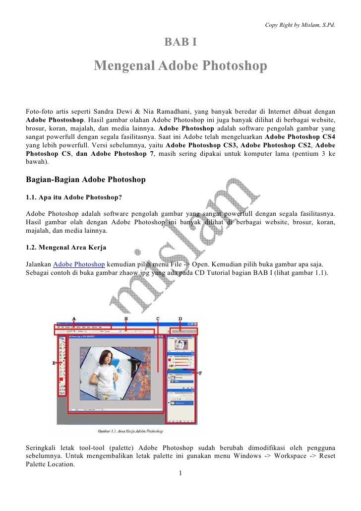 Copy Right by Mislam, S.Pd.                                            BAB I                     Mengenal Adobe PhotoshopF...