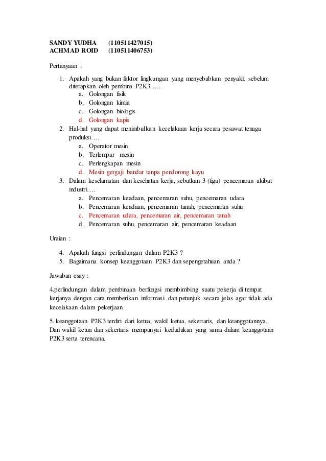 soal essay k3lh dan jawabannya