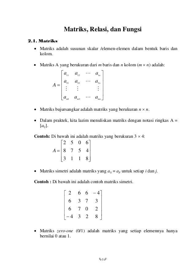 Matematika Diskrit Matriks Relasi Dan Fungsi